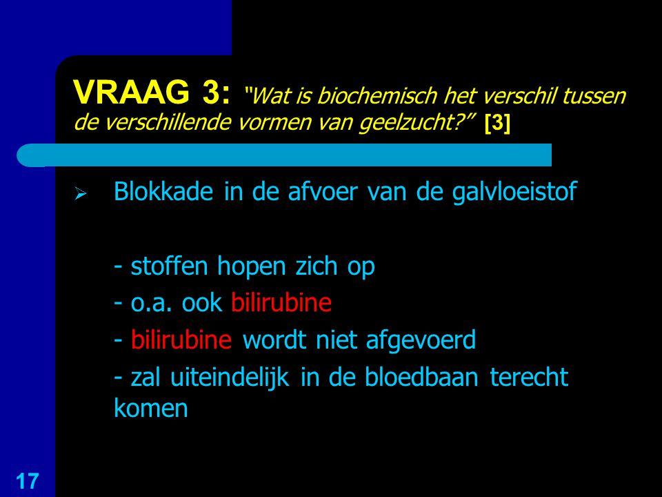 VRAAG 3: Wat is biochemisch het verschil tussen de verschillende vormen van geelzucht [3]